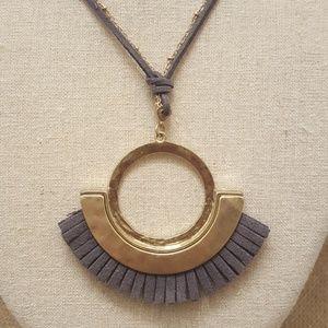 Jewelry - Fan Tassel Chain & Cord Necklace